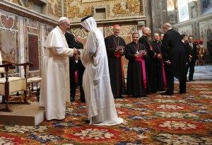 Pope Francis kowtows to the Religion of Satan. (Photo: Asia News)